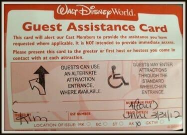 guest assistance card walt disney world