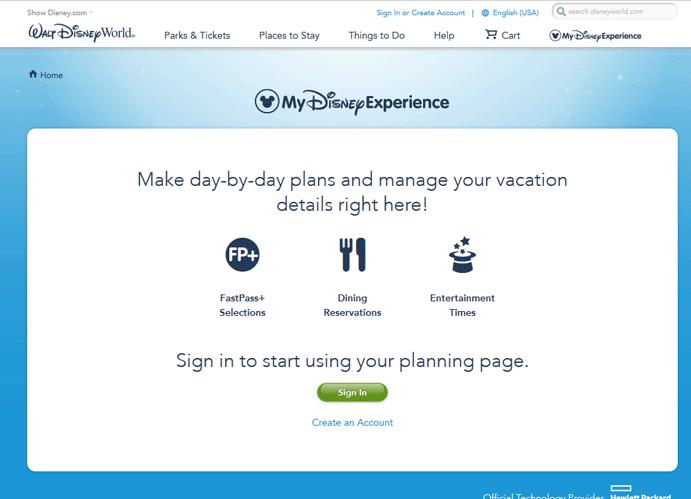 Walt Disney World Fast Pass Reservation - Step 1