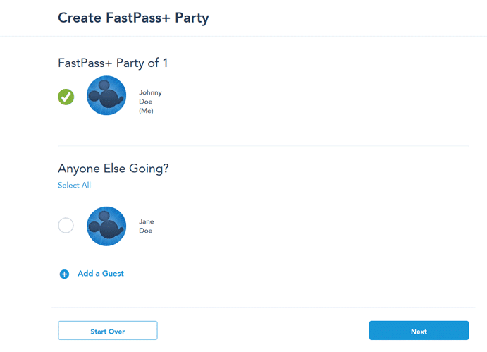 Walt Disney World Fast Pass Reservation - Step 4