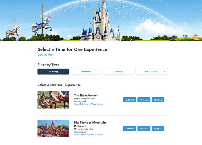 Walt Disney World Fast Pass Reservation - Step 7