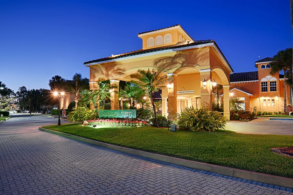Saratoga Resort Villas Orlando Hotels Front View Night