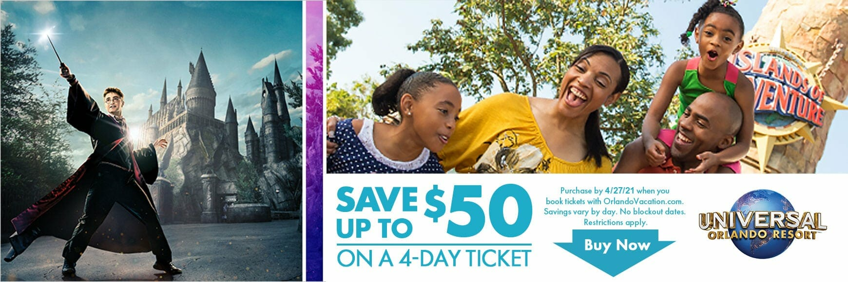 Universal Studios Save up to $50 Promo